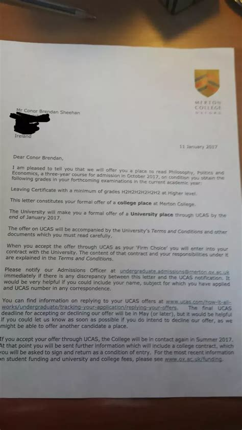 What do acceptance letters from Oxbridge/Ivy leagues look