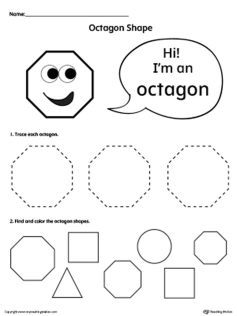 Trace and Color Octagon Shapes | MyTeachingStation