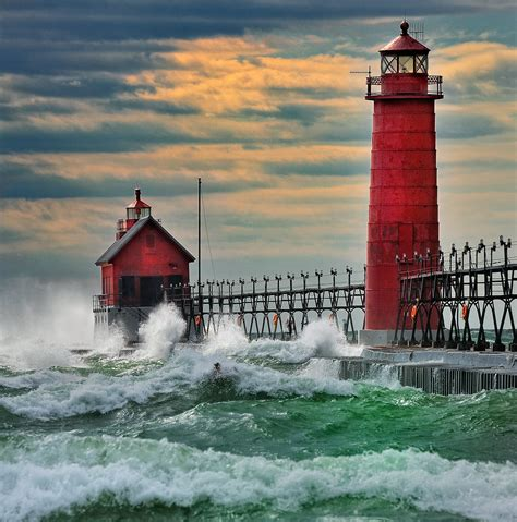 """""""September Gale"""" Grand Haven Breakwater Lighthouse is loca"""